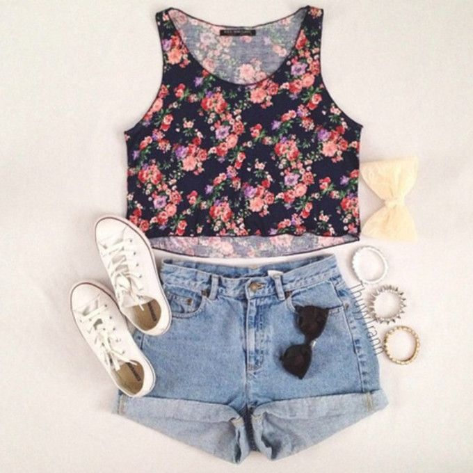 high wasted shorts and floral crop top with high top convers - Google Search