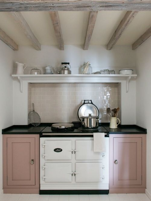 Image Result For Dusty Pink Cottage Kitchen Houzz Kitchen Units Painted Country Kitchen Kitchen Inspirations