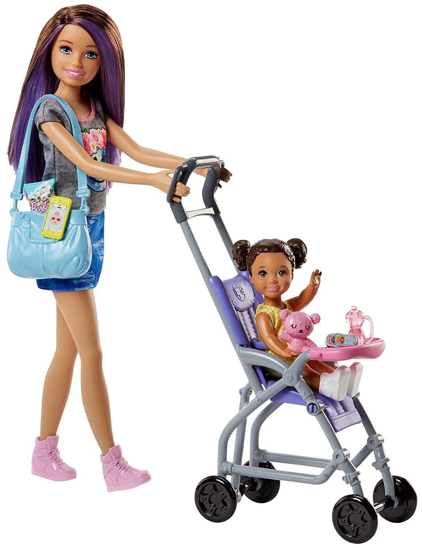 Barbie Famille Coffret Poupee Skipper Baby Sitter Et Sa Poussette