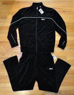 cff7a5929fee NEW FILA MEN VELOUR BLACK TRACK SUIT JACKET PANTS SZ XL | Veloure 4 ...