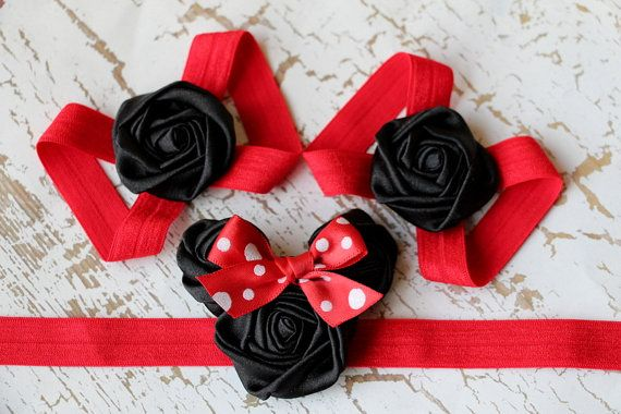 Red Minnie Mouse Inspired Gift Set Headband and Barefoot Sandals darlingbowtique