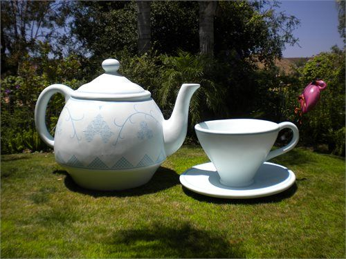 Giant Oversized Teapot Tea Cup And Saucer