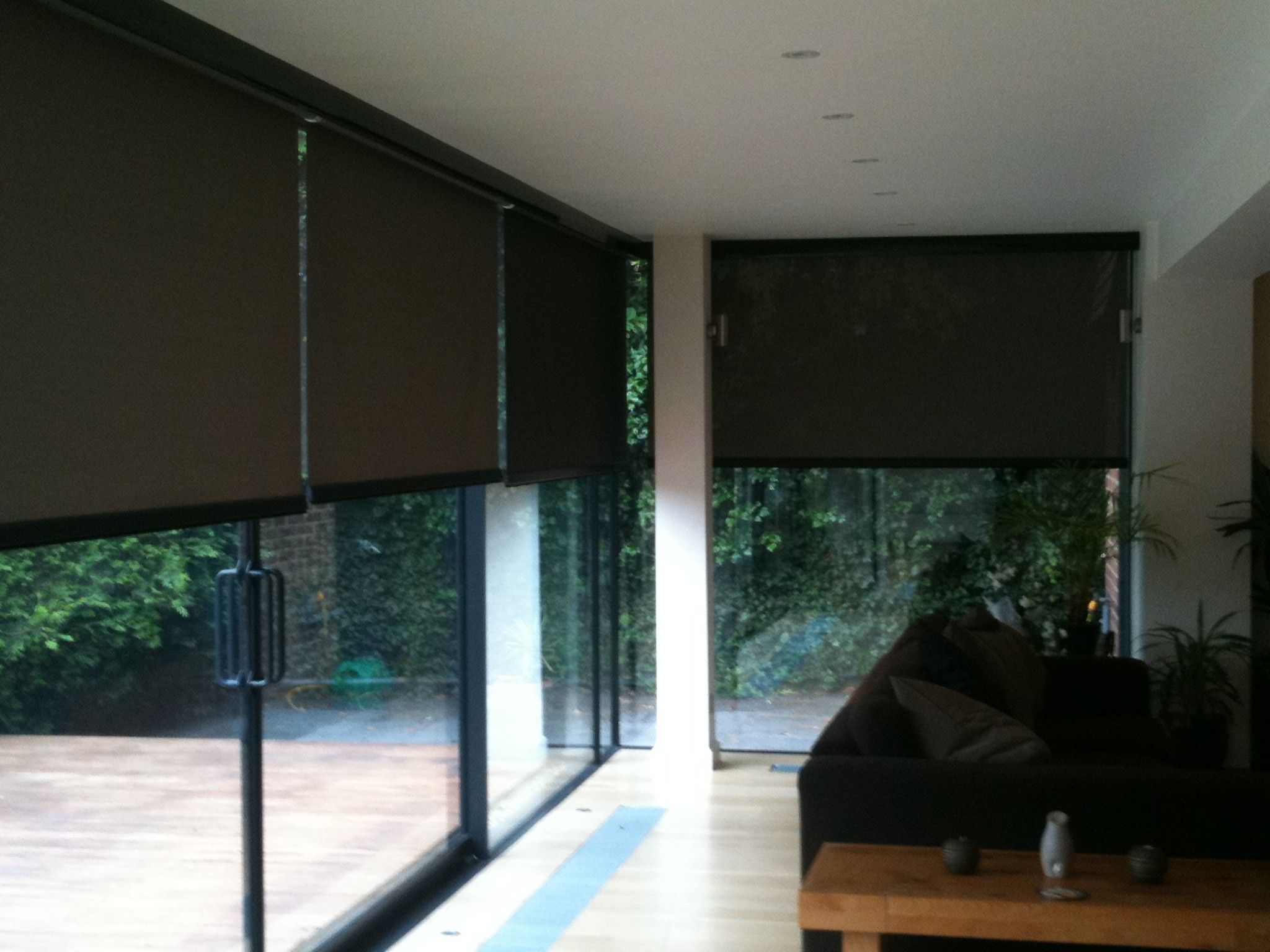 Exterior Interior Glass Patio Doors With Black Frame Tone