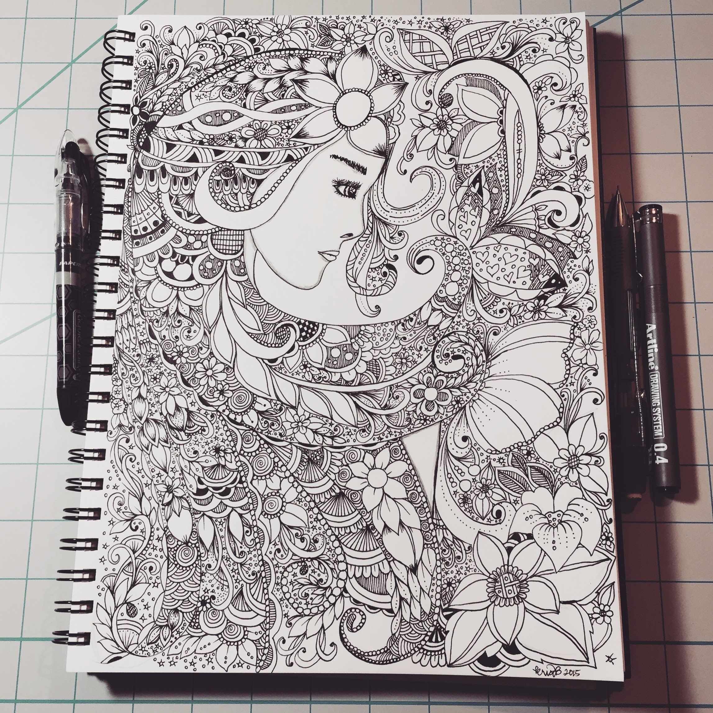 Zentangle inspired woman face 39 zentangle inspired art for Doodle art faces