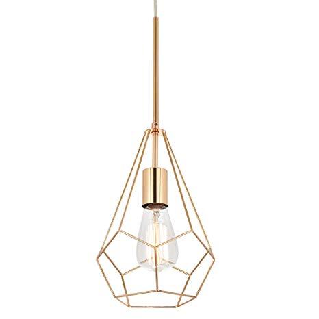 32 Berliget Retro Adjustable Cord Polygon Kitchen Gold Metal Industrial Hanging Pendant Pendant Light Fixtures Hanging Pendant Lights Kitchen Pendant Lighting