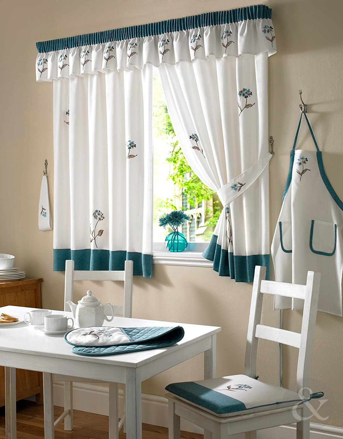 TEAL CREAM Curtain Floral Ready Made Embroidered Kitchen Net