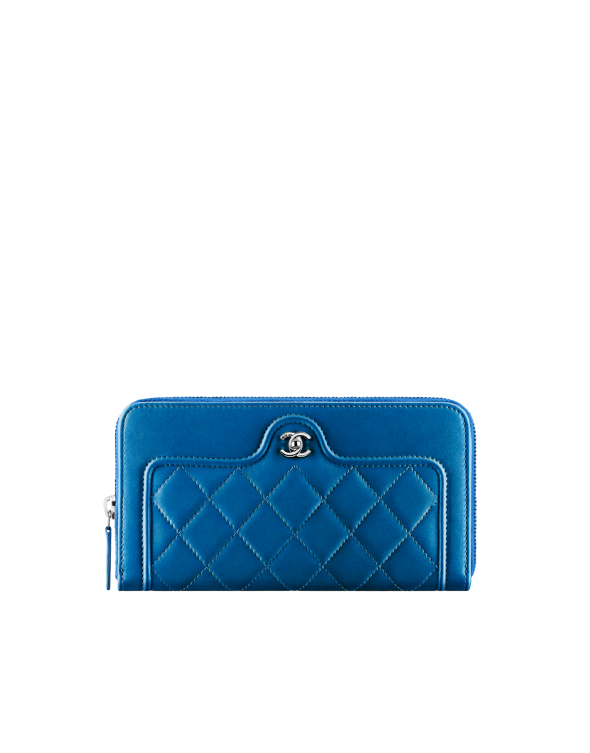 Portefeuille zippé, agneau   métal argenté-bleu - CHANEL   Arm candy ... cad1eb68edc