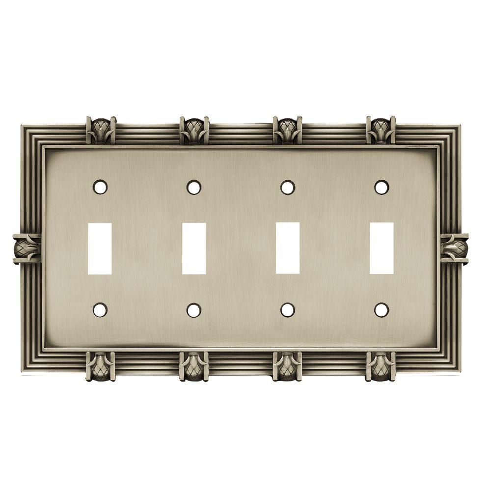 Pineapple 4 Toggle Switch Wall Plate- Brushed Satin Pewter, Brushed Satin Pewter Finish