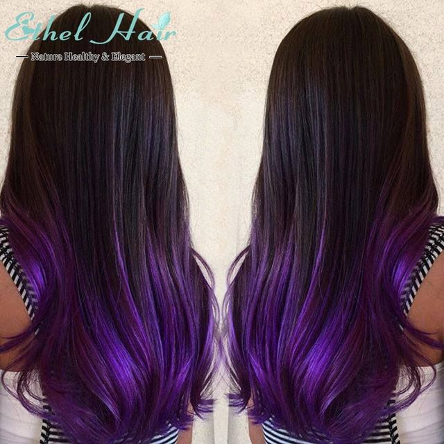 Purple Ombre Hair Ombre Hair Extensions 2tone Ombre Brazilian Virgin Hair Straight T1b Blackberry Hair Colour Purple Ombre Hair Underlights Hair