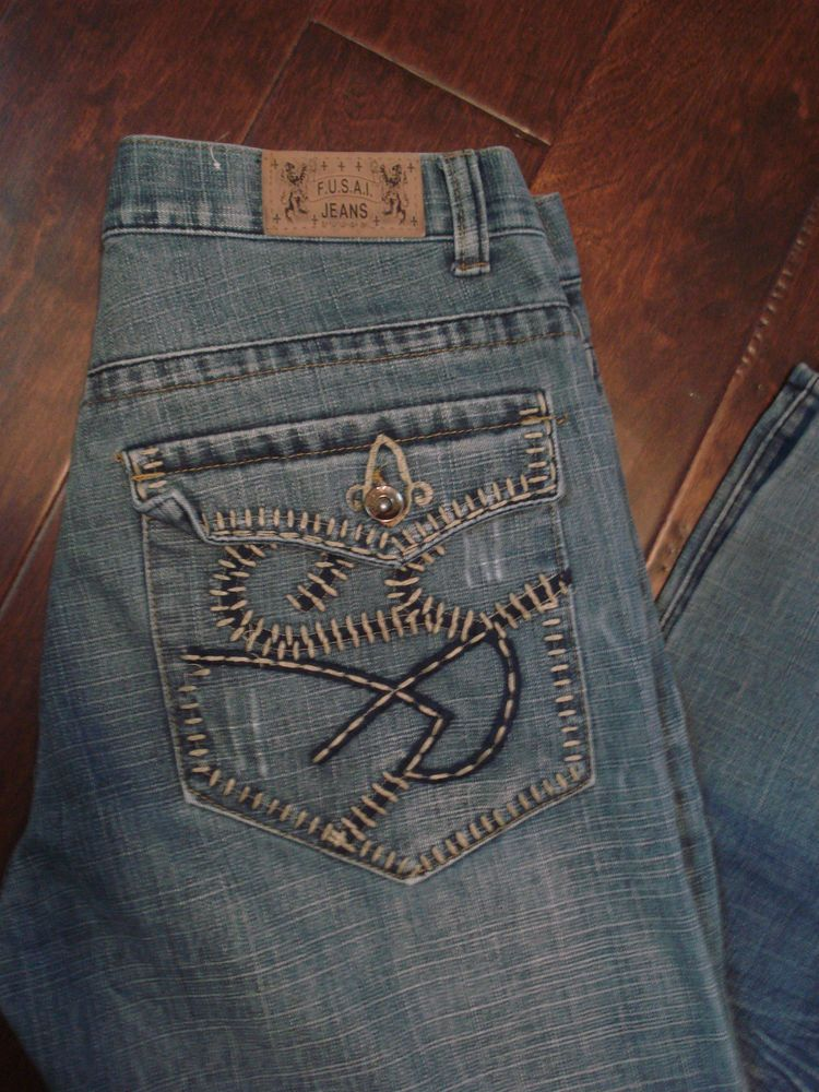 MENS F.U.S.A.I. DESIGNER JEANS by FOCUS USA INC. DISTRESSED DENIM ...
