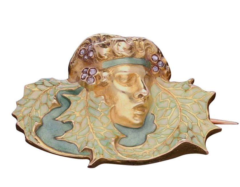 Art Nouveau Rene Lalique Enamel Diamond Gold Brooch circa 1900 (Modelled as the head of a woman 'wood nymph' with rose-cut diamond-set pale green translucent enamel bandeau surrounded by matching enamel stylised leaves, the reverse with pale green translucent enamel throughout. Paris, France)