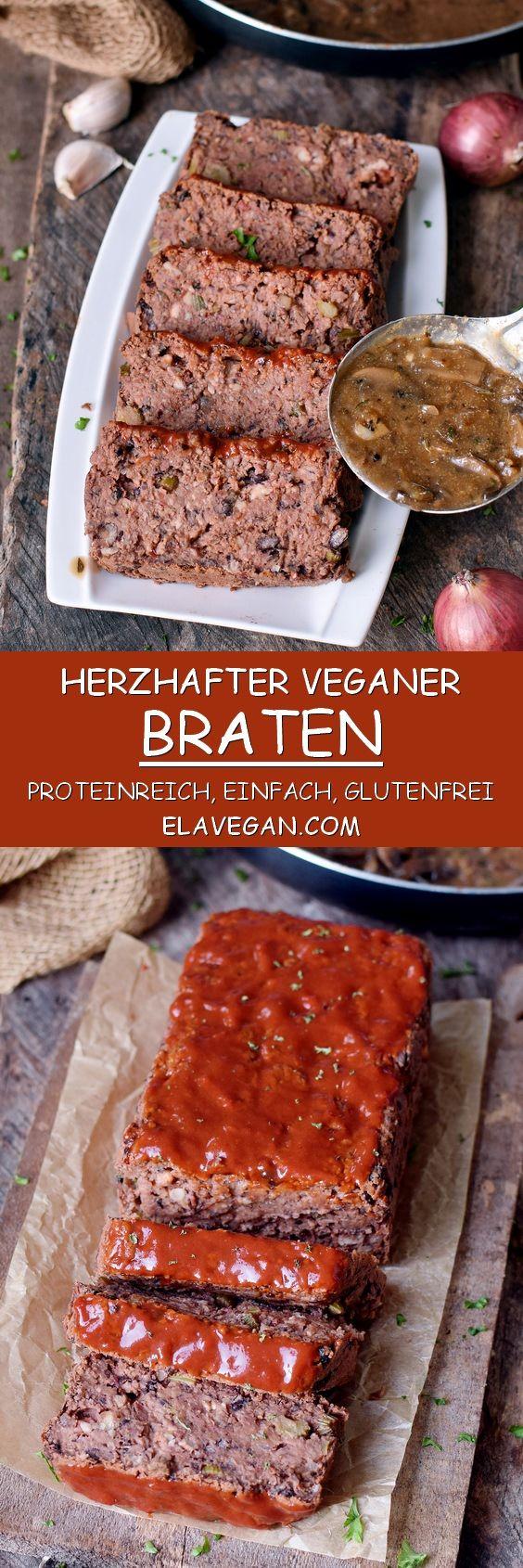Veganer Braten (fleischloser Hackbraten) | glutenfreies Rezept - Elavegan