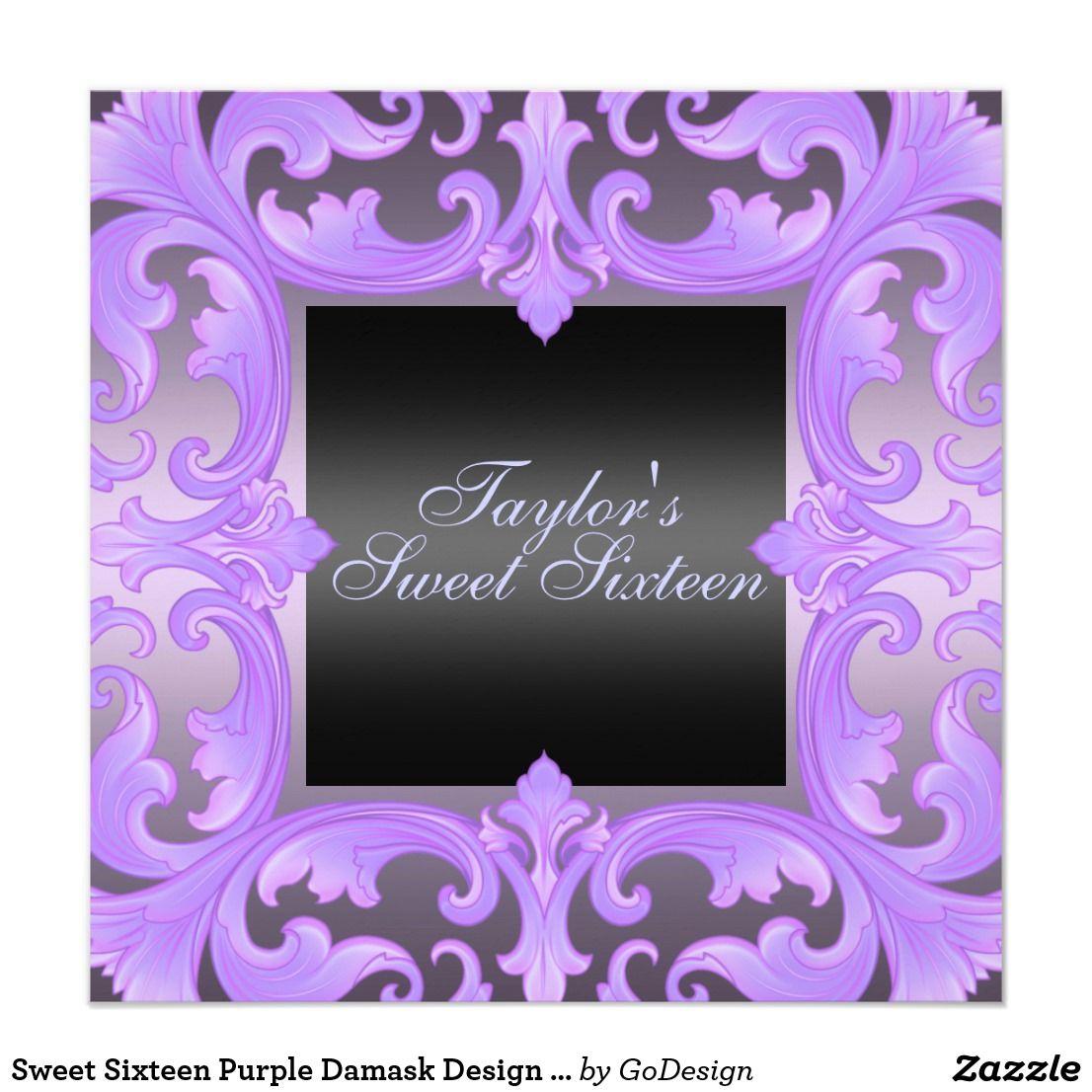 Sweet Sixteen Purple Damask Design Birthday Invite | Sweet sixteen ...