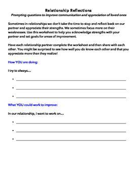 Relationship Reflections Prompting Questions Goal Setting Worksheet Couples Therapy Worksheets Marriage Counseling Worksheets Relationship Worksheets