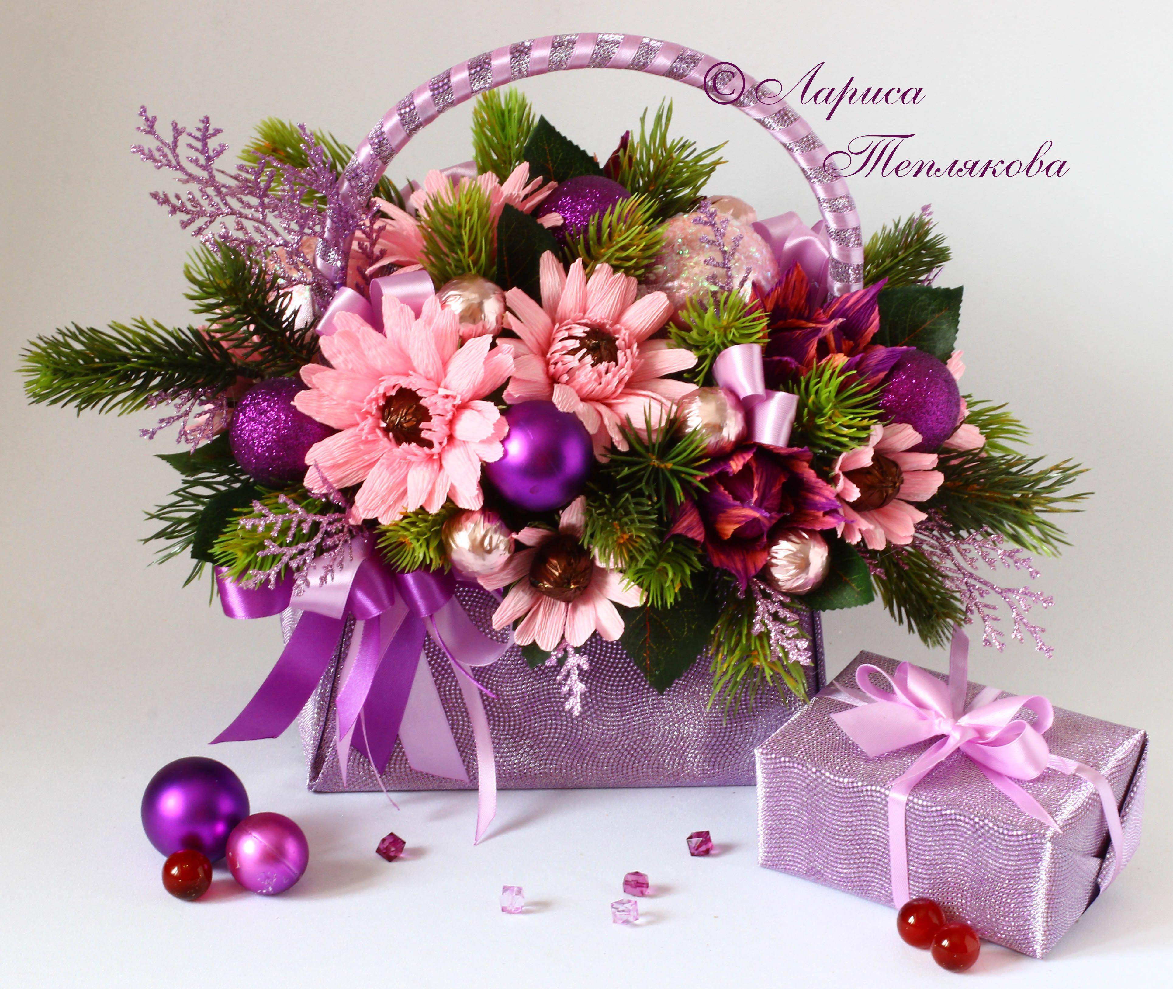 Букеты цветов, новогодние букет из цветов и конфет