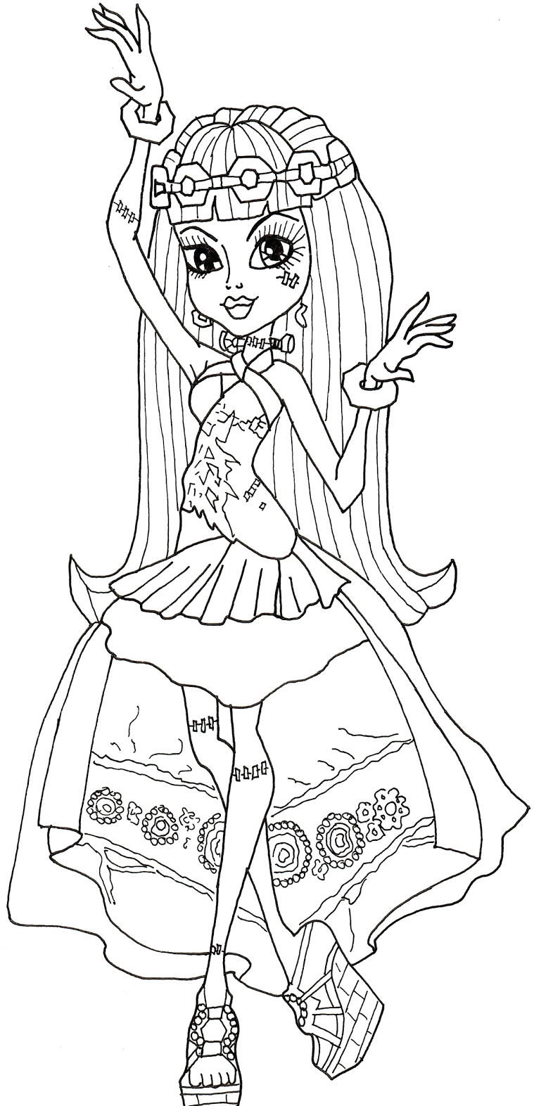 Monster High Frankie Stein Dancing Coloring Pages | Coloring Parties ...