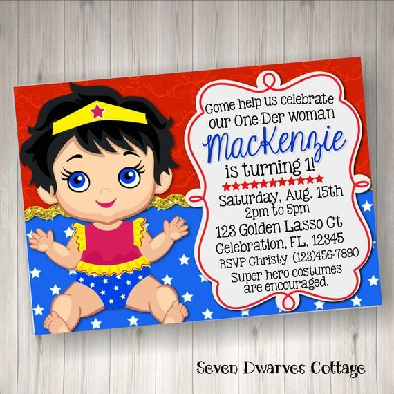 Personalized Wonder Woman Inspired First Birthday Invitation
