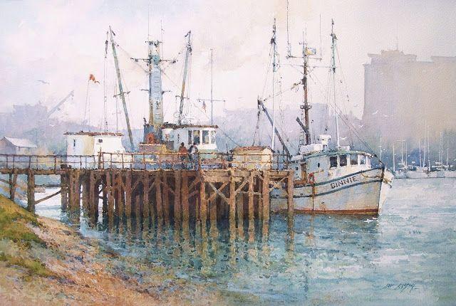 "Moss Landing, California watercolor 14"" x 21"""