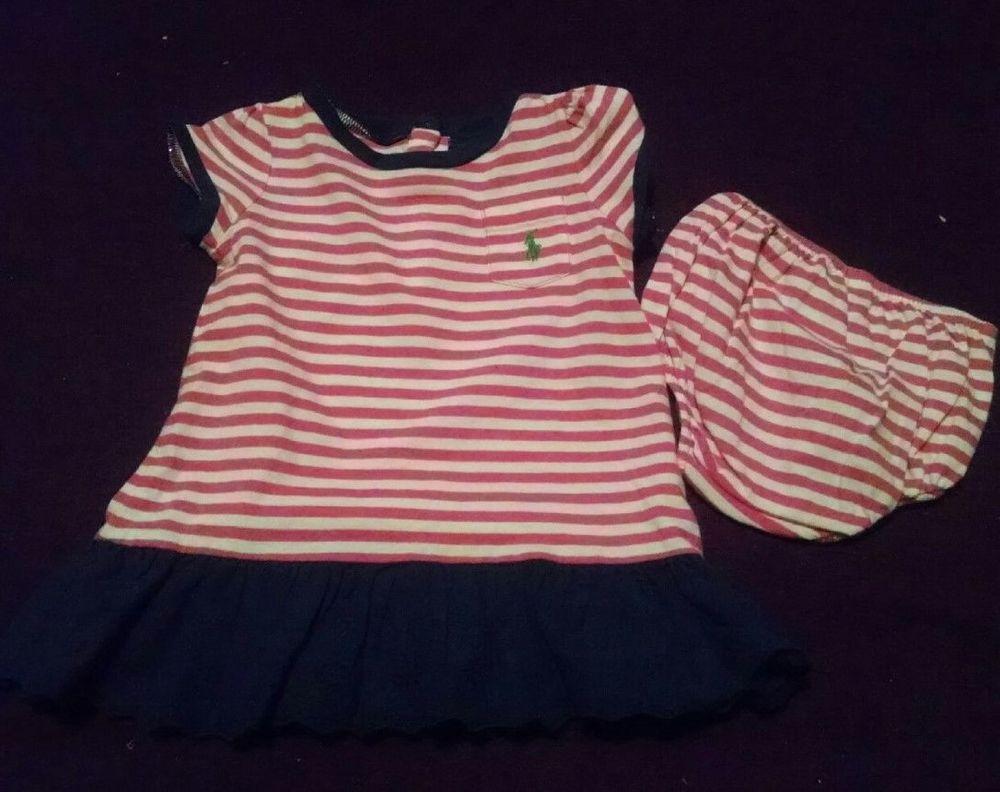 Ralph Lauren Pink Striped Dress & Panties Baby Girl Size 9 Months Ralph Lauren #RalphLauren