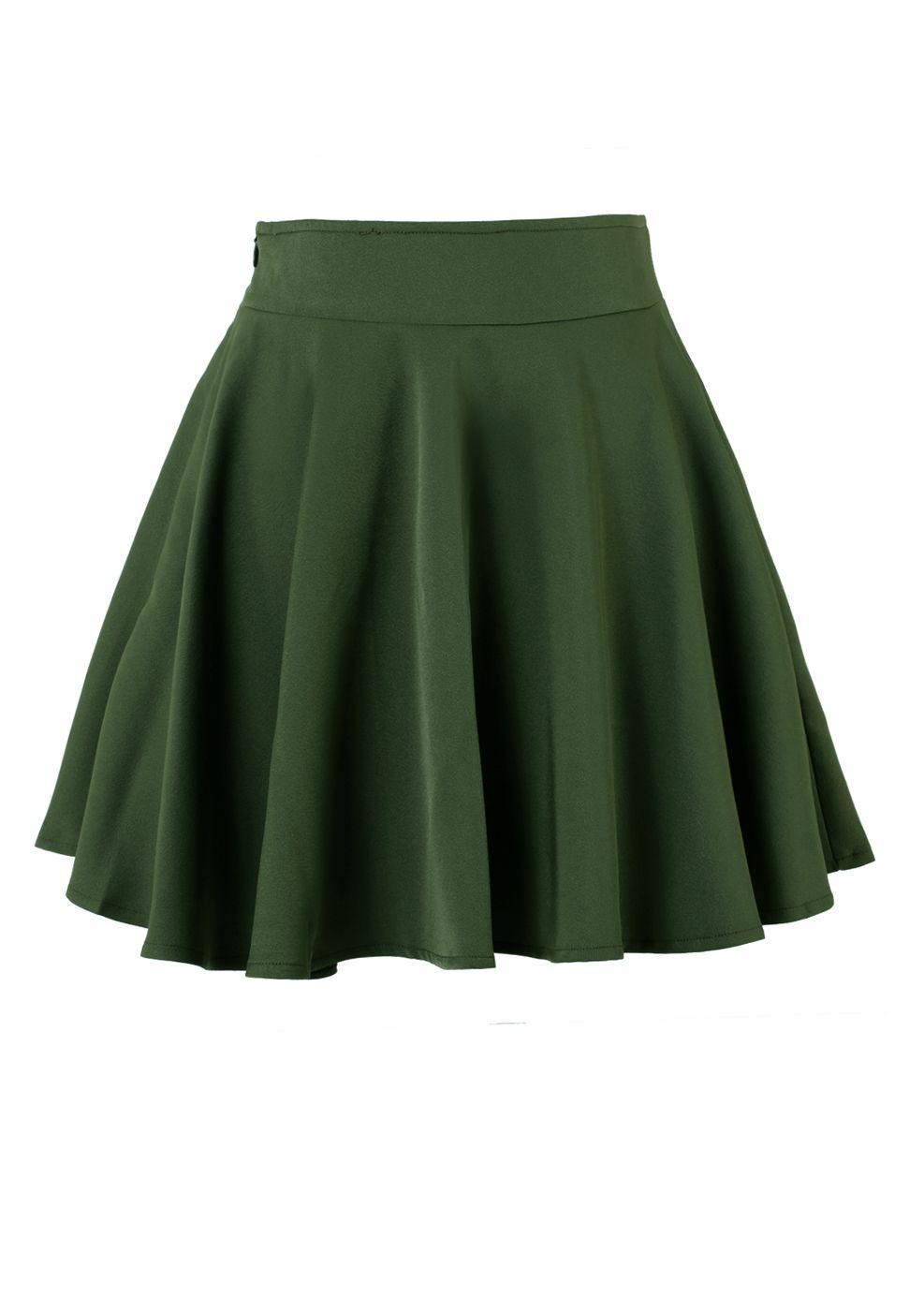 11aa15366 Dark green Skater Skirt | WOMEN'S CLOTHING | Skater skirt, Green ...