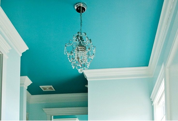 Ceiling Design Ideas Turquoise Ceiling White Molding And