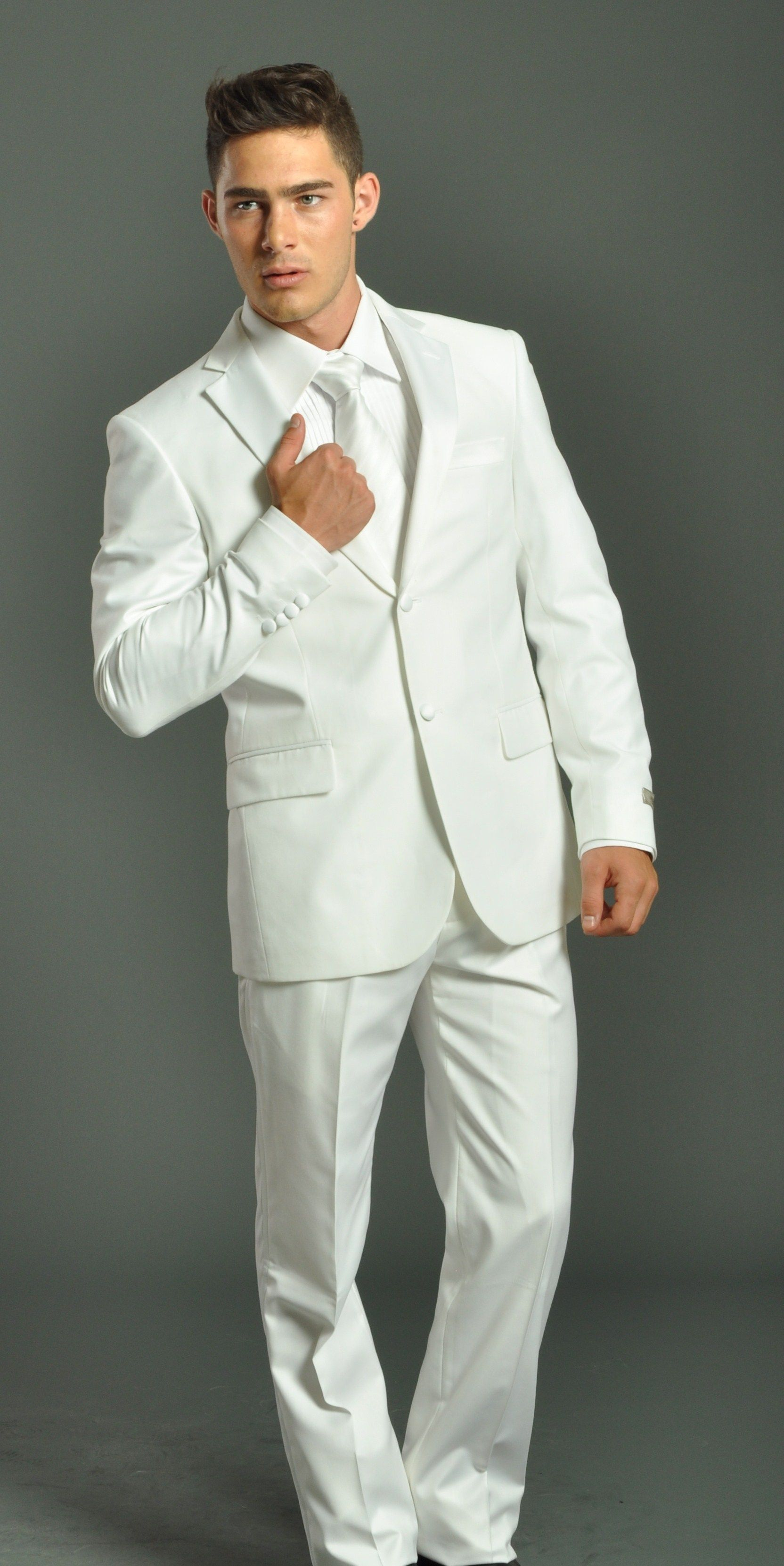 men & women in white suit Men's Two Button Solid White