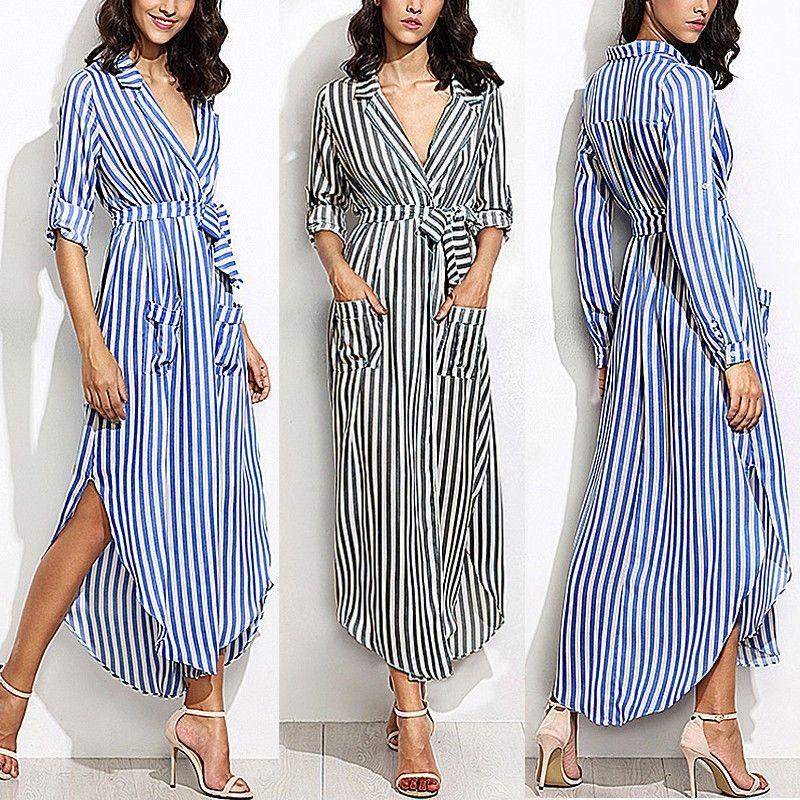20c4e99f702 Plus Size Summer Womens Casual Loose Long Sleeve Stripe Shirt Blouse Tops  Dress  Celmia  Casual