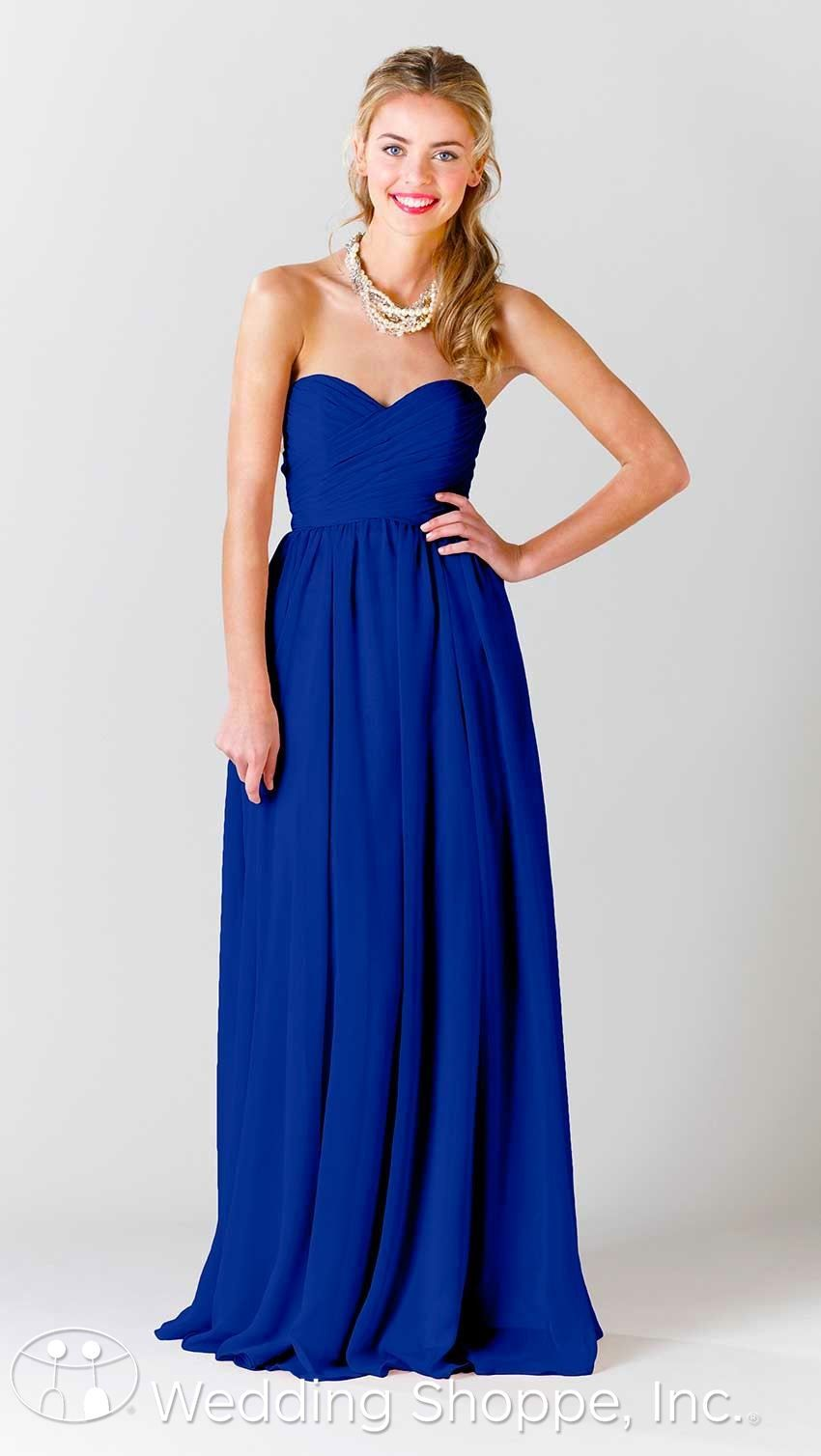 Beautiful long chiffon bridesmaid dress in royal member for Blue long dress wedding