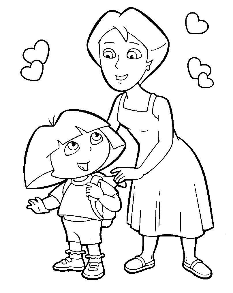 Dora et sa maman qui lui remet son sac  dos magique une belle sc¨ne  colorier