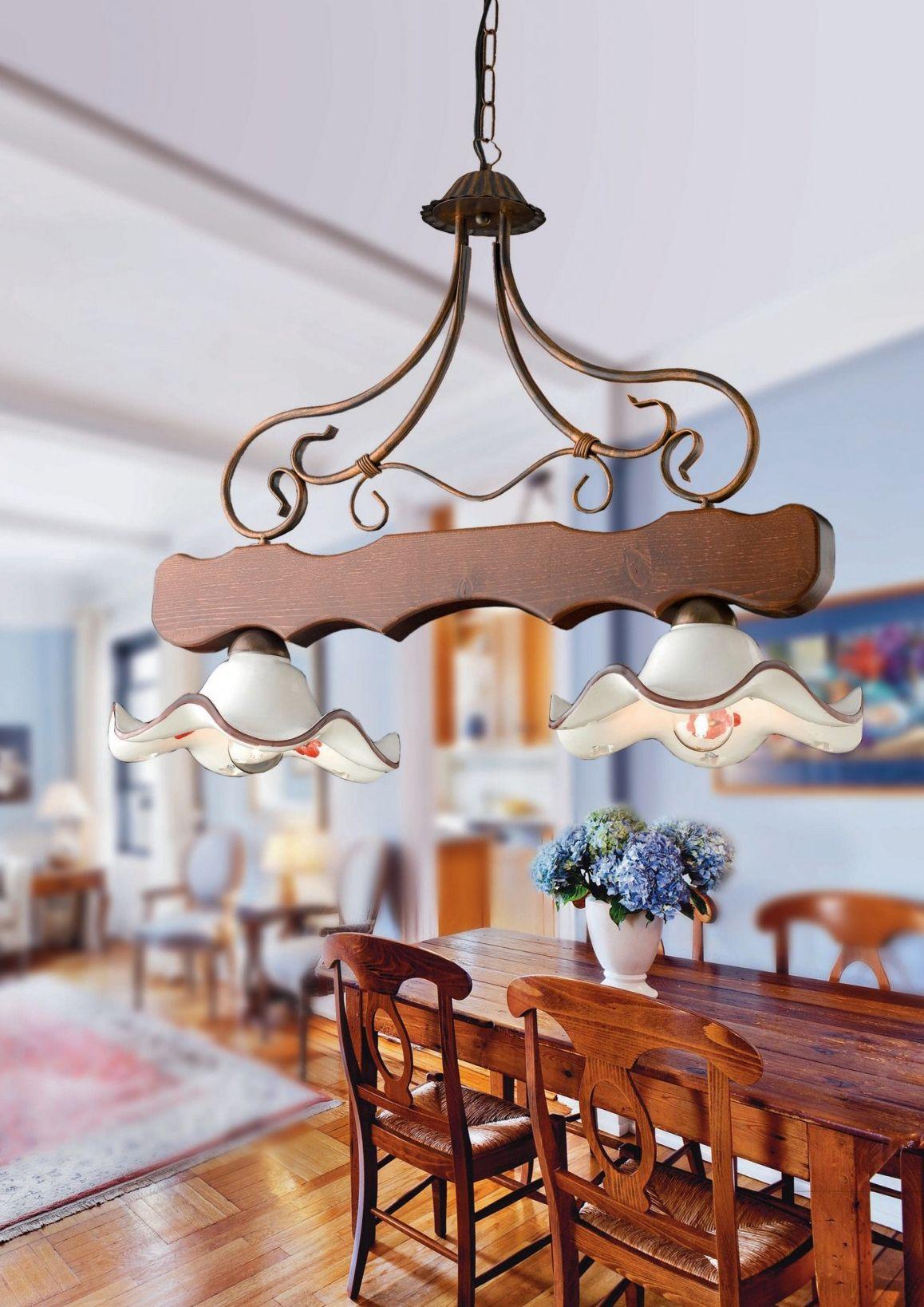 Bilanciere a lampadario rustico in legno e ceramica 2 luci