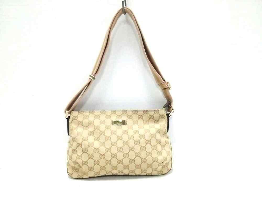 d9d06da3d Auth GUCCI GG 189749 Beige Brown Jacquard Shoulder Bag (eBay Link)