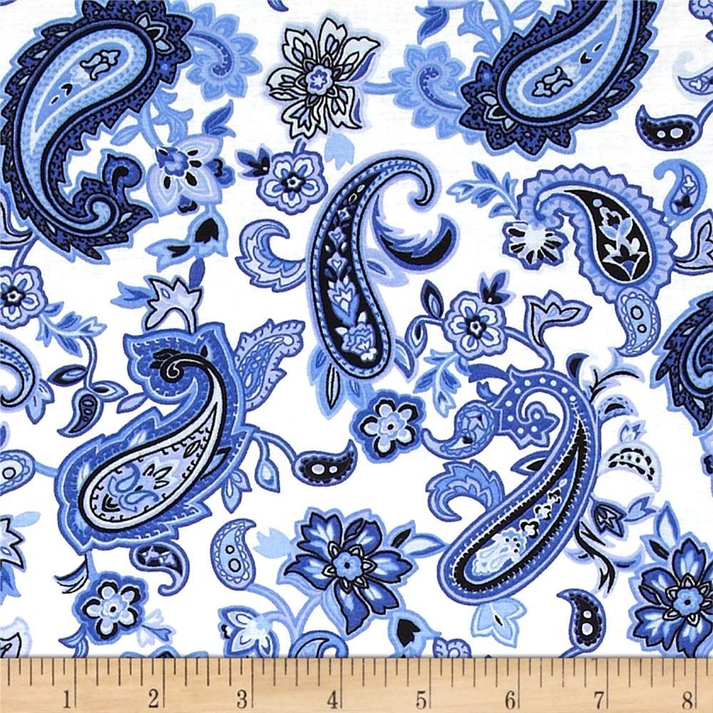 Blues Clues Large Floral Paisley Blue/White | 100% cotton | Width ...