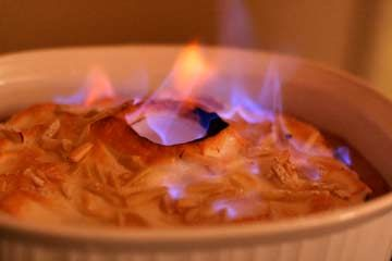 Le Talleyrand ~ Simone Beck's flambeed cherry custard meringue dessert, named after 19th century French diplomat Charles Maurice de…