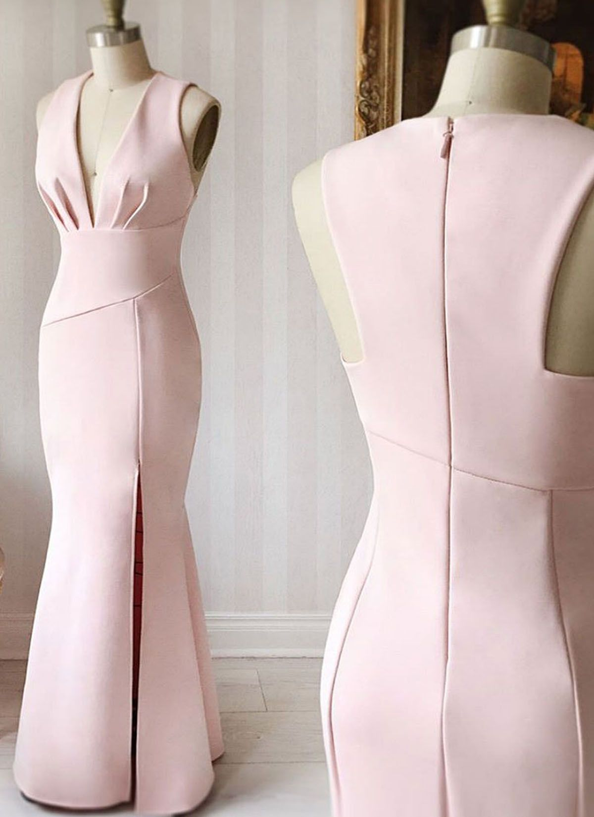 Pink satin v neck long mermaid bridesmaid dresses long simple