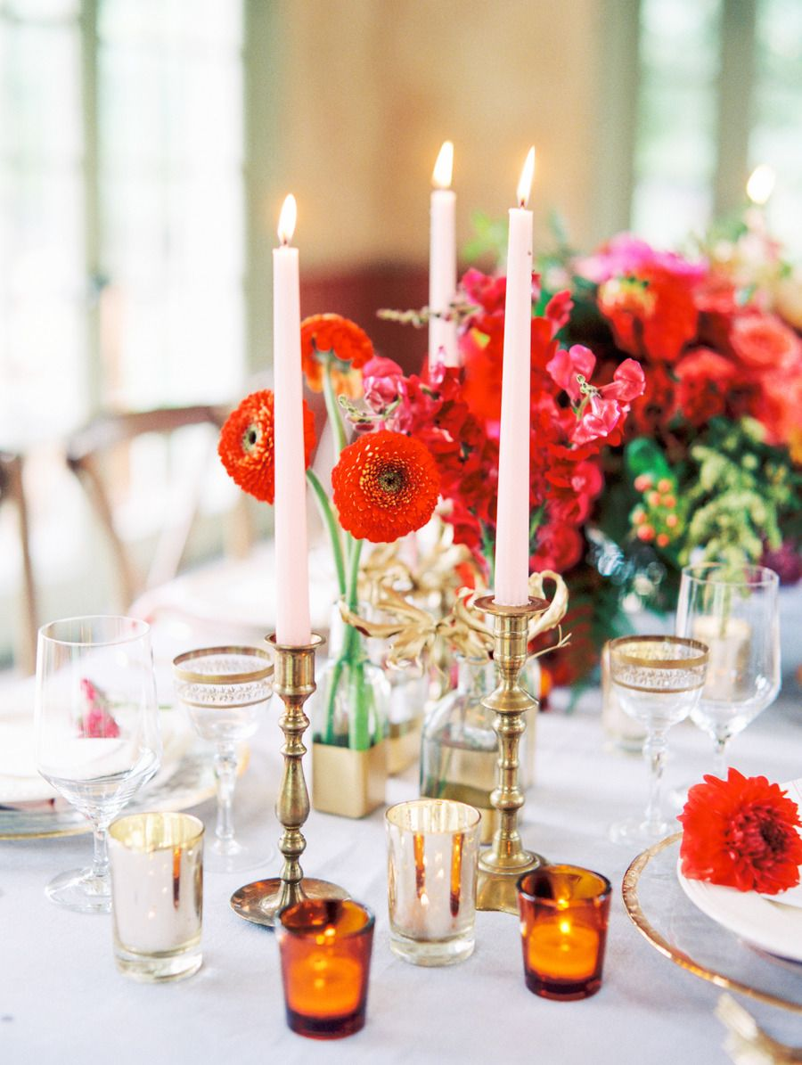 #candle #flowers #tables #design  Photography: Katie Stoops Photography - www.katiestoops.com  Read More: http://www.stylemepretty.com/2014/10/13/inspired-by-color-blood-orange/