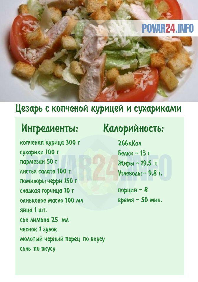 Салат Цезарь с копченой курицей и сухариками | Рецепт ...