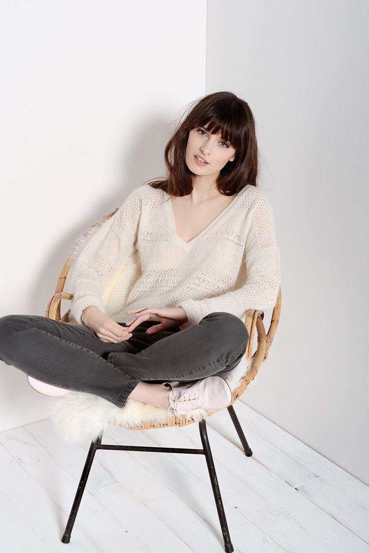 Crinette Ecru Pullover 35% Superkid Mohair 35% Baby Alpaga 30% Nylon - Jumper femme - Des Petits Hauts 1