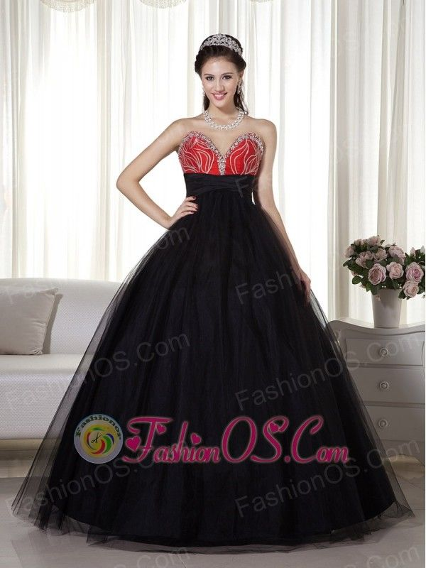 Black and Red Ball Gown Sweetheart Prom Dress Tulle and Taffeta ...