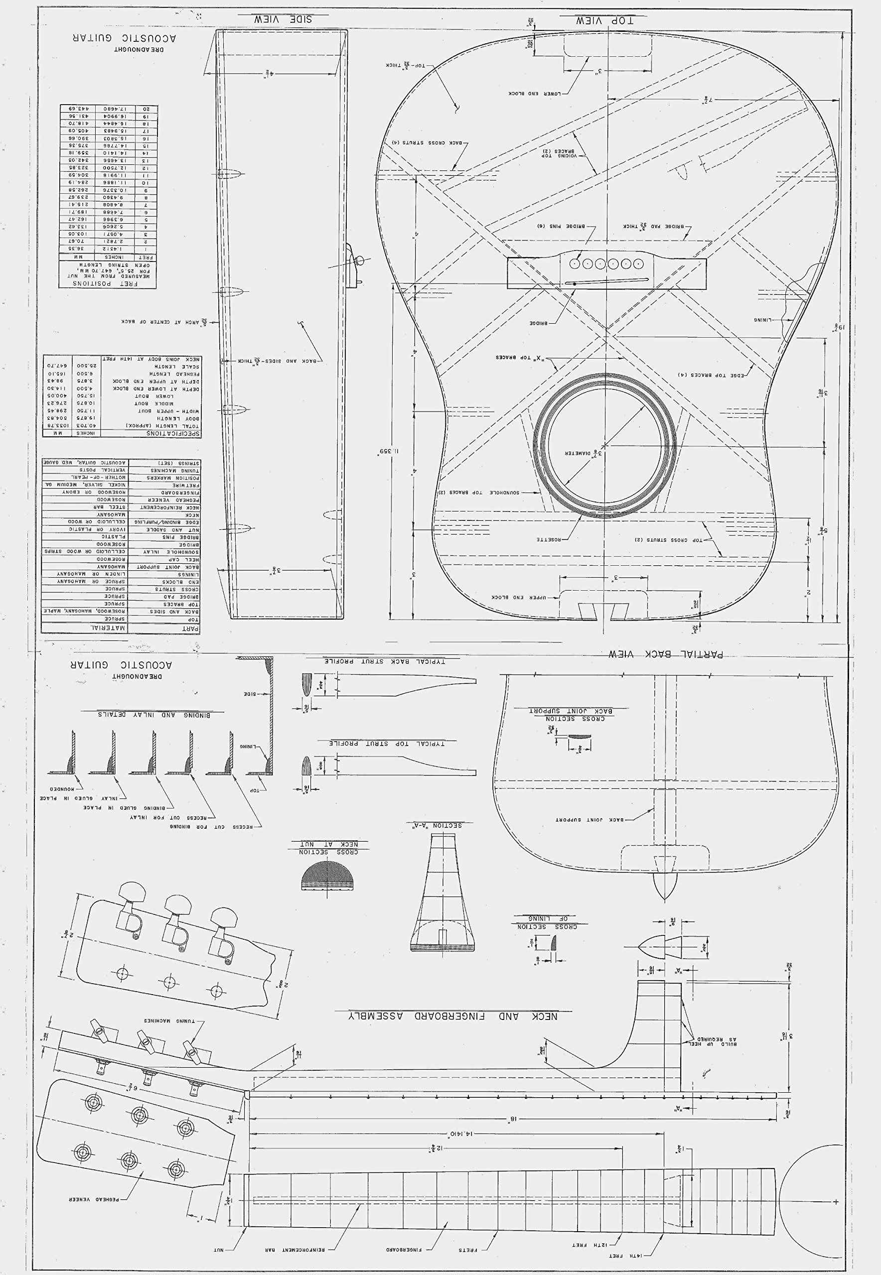 martin d28 style guitar plans to build full scale acoustic guitar [ 1768 x 2560 Pixel ]
