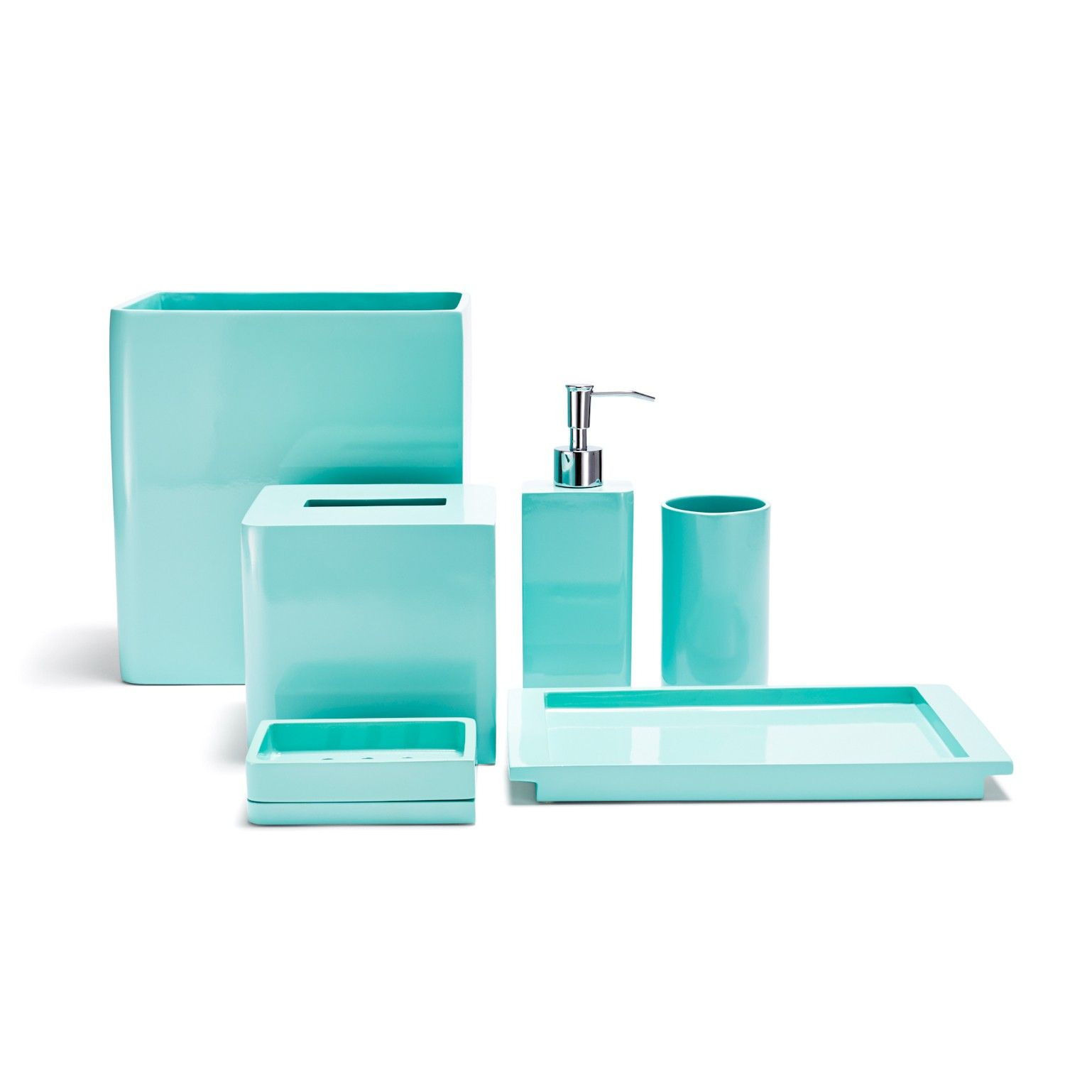 Bathroom accessories in blue ideas pinterest for Turquoise bathroom accessories sets