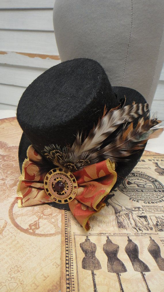 Steampunk Hat  Little Black Top Hat  Sprockets and by HikariDesign