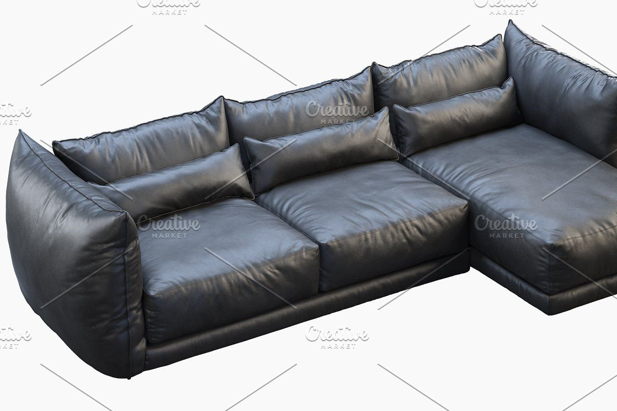 Leather chaise lounge sofa 3d model in 2020 Chaise