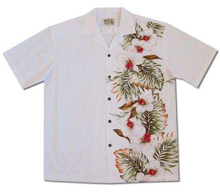 orchid palooza white border hawaiian shirt hawaiian
