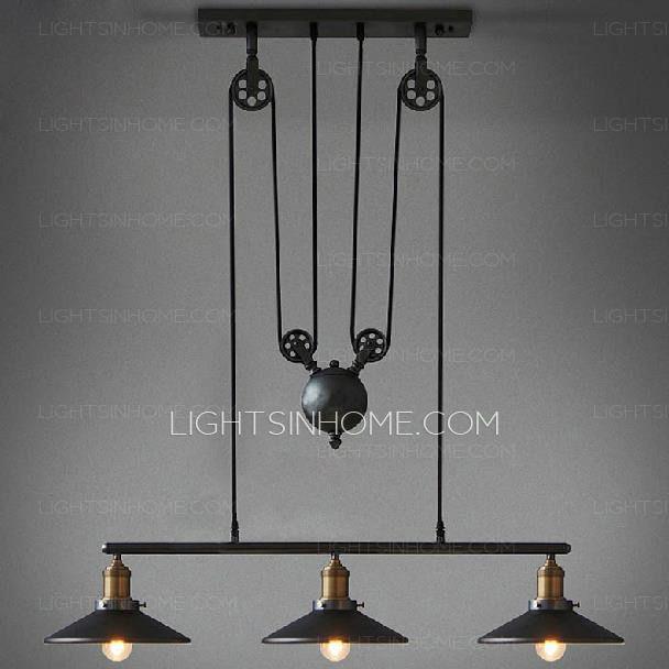Primitive 3 light industrial hanging pulley pendant lights primitive 3 light industrial hanging pulley pendant lights aloadofball Gallery