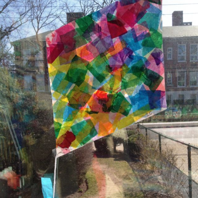 Tissue paper kites look great on our classroom windows for Creative tissue paper ideas