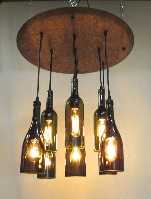 Wine bottle barrel lid chandelier pendant light lamp dining restaurant recycled bottle wine - Wine bottle light fixtures ...