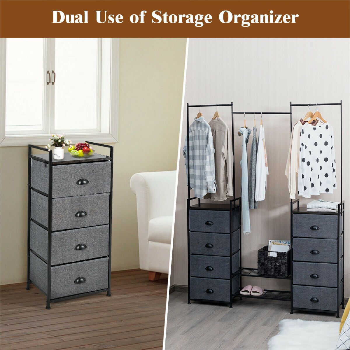 8 Drawer Fabric Dresser With Rack Multifunctional Storage Tower
