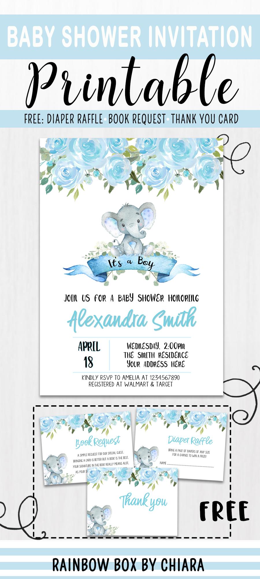 Elephant Baby Shower Invitation Boy