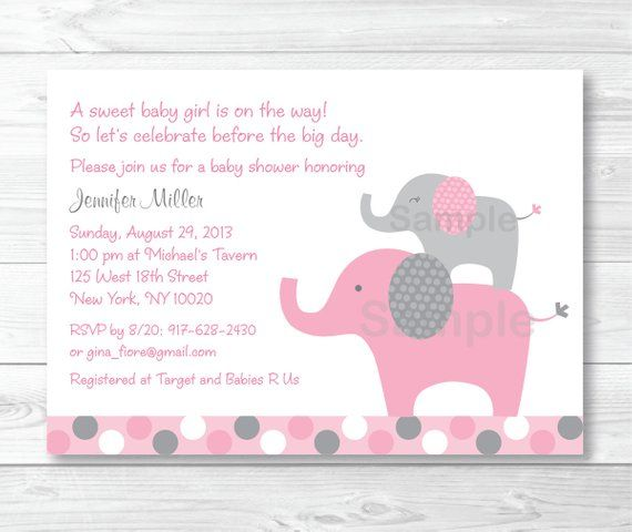 Pink Polka Dot Elephants Printable Baby Shower Invitation Editable PDF