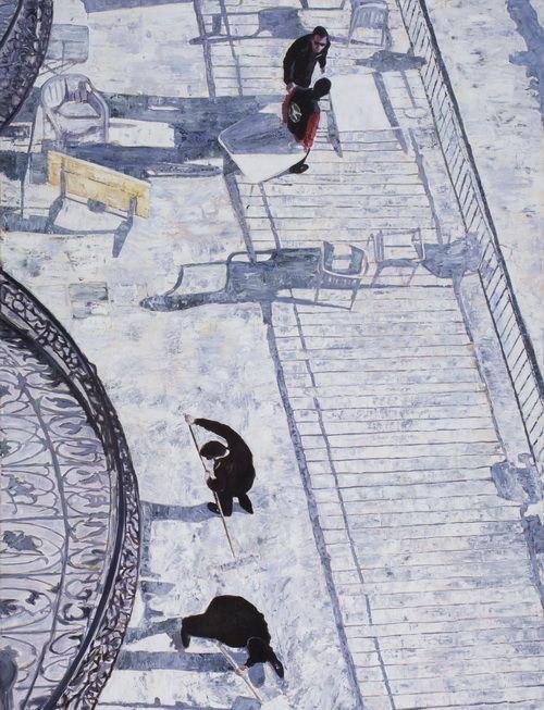 Cseke Szilárd - Szalloda munkasok St. Moritzban, 2010, olaj, vászon, 170x130cm.